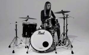 Florrie playing drums