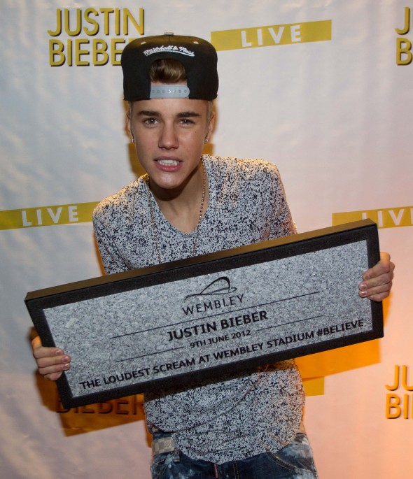 Justin Bieber gets presented with a Wembley Way Stone