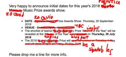 The 2018 Popjustice Twenty Quid Music Prize: key dates