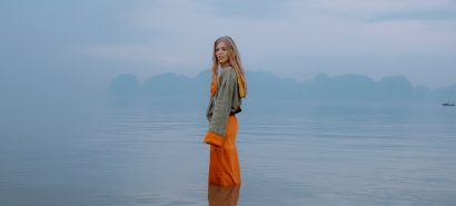 becky hill standing in a lake